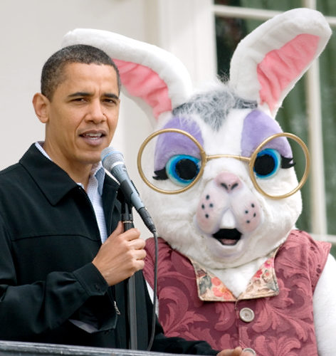 Obama w/MK Prog'mr Rabbit (Easter Bunny)