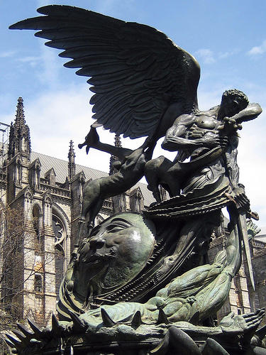statue outside Cathedral of St John The Divine